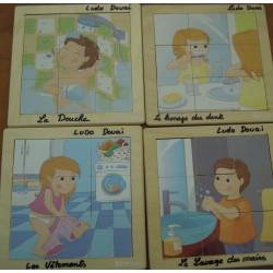 Lot de 4 puzzles Hygiènes